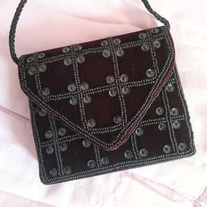 Vintage Black Velvet & Satin Sequin Evening Bag